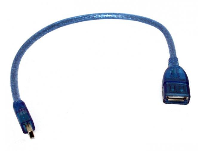 Krátký kabel miniUSB male USB female 2 0 modrý 01