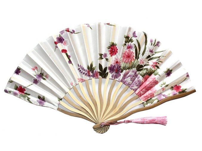 Látkový vějíř květovaný růžovo bílý 01