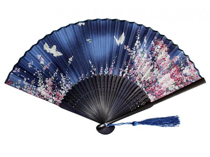 Modrý luxusní vějíř Květy a motýli 01