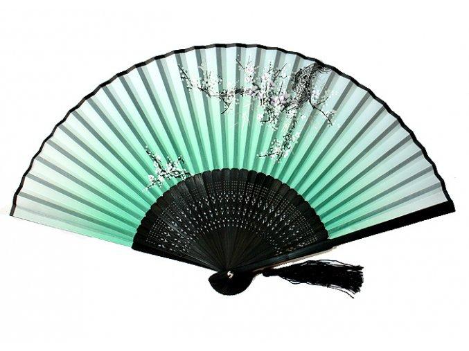 Luxusní bambusový vějíř černý zelený motiv 01