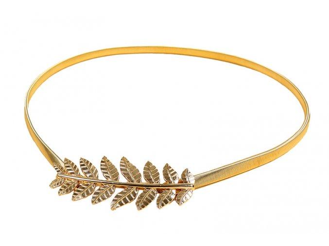 Pružinový pásek na šaty Složený list zlatý 01