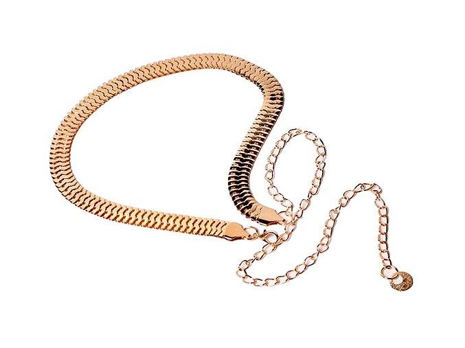 Plochý řetízkový pásek na šaty zlatý 01