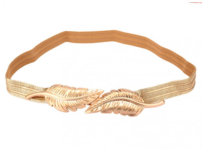 Elastický pásek na šaty s Lisky zlatý 01