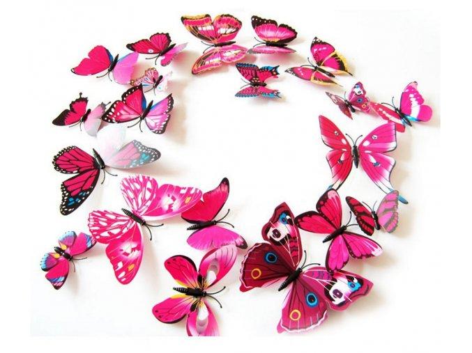 Dekorace na zeď 3D motýlci růžová