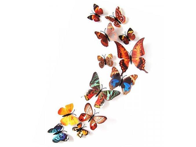 3D dekorace na stěnu motýlci hnědí 01
