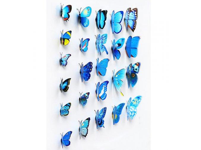 Dekorace na zeď 3D motýlci modrá