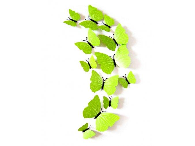 3D motýli na zeď sada 24 ks zelení