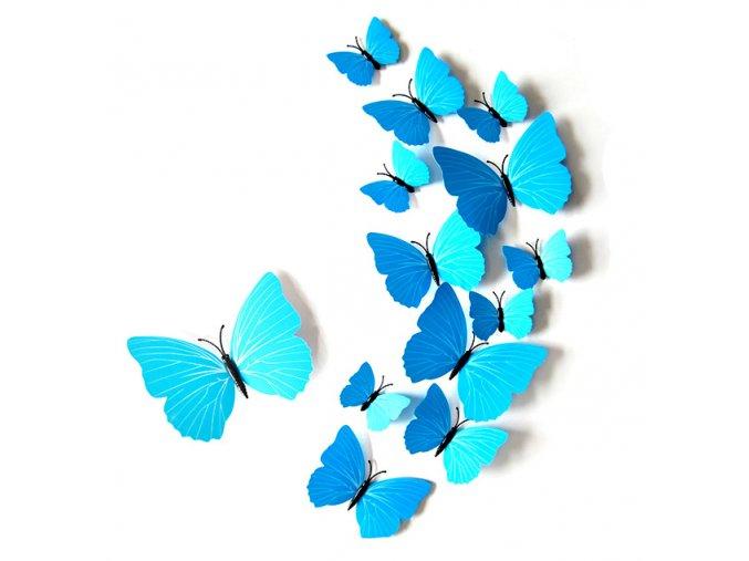 Dekorace na zeď 3D motýli modrá