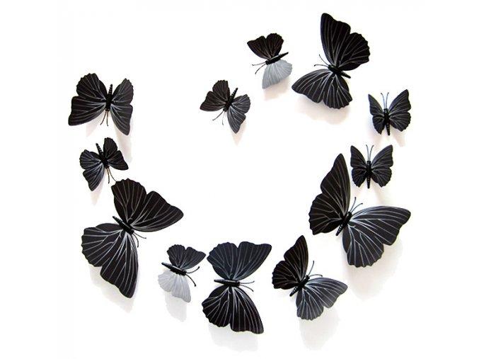 Dekorace na zeď 3D motýlci černá