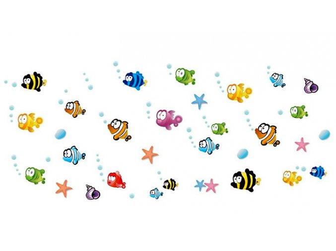 Samolepky na zeď rybičky a bubliny 01