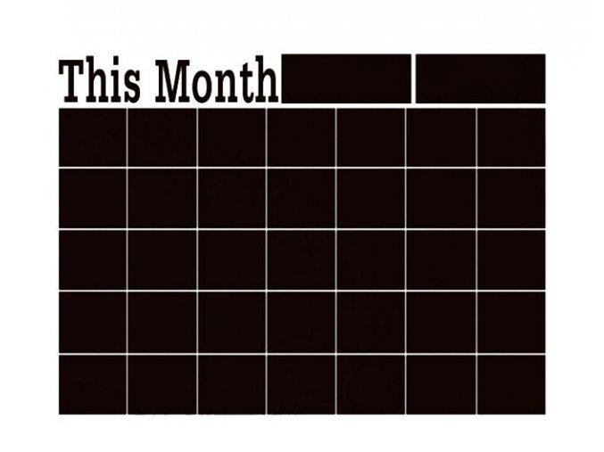 planovaci kalendar cerna samolepici folie na zed