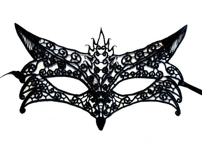 Krajková maska zpevněná Fox černá 01