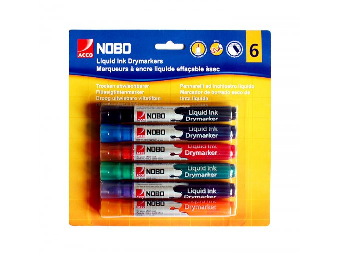 Barevné popisovače na whiteboard NOBO 6ks 01