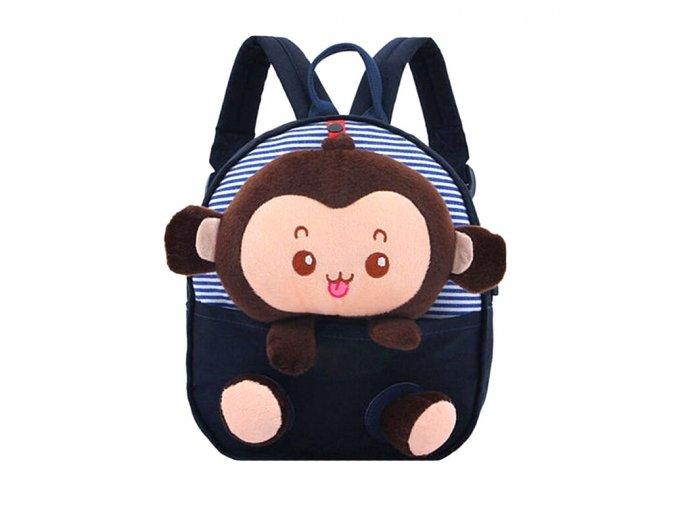 Dětský batůžek Opička tm modrý 01