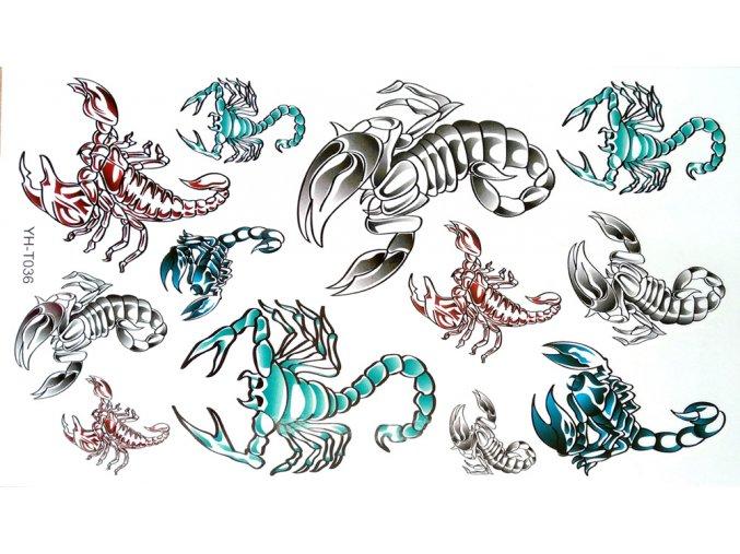 Nalepovací tetování barevné Štíři YH T036