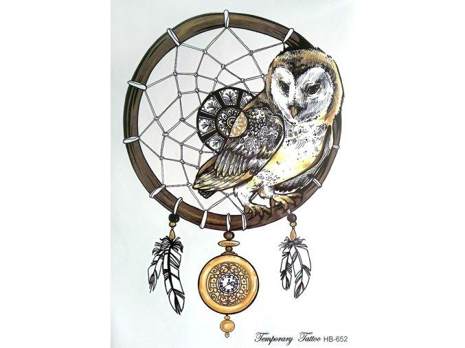Nalepovací tetování Lapač snů a sova HB 652