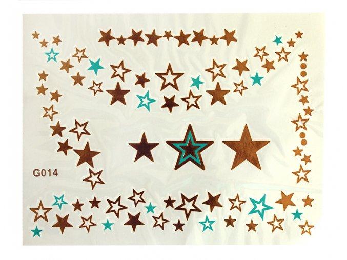 Metalické nalepovací tetování G014 Hvězdy