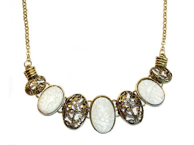 Vintage náhrdelník PATINA bílý 01