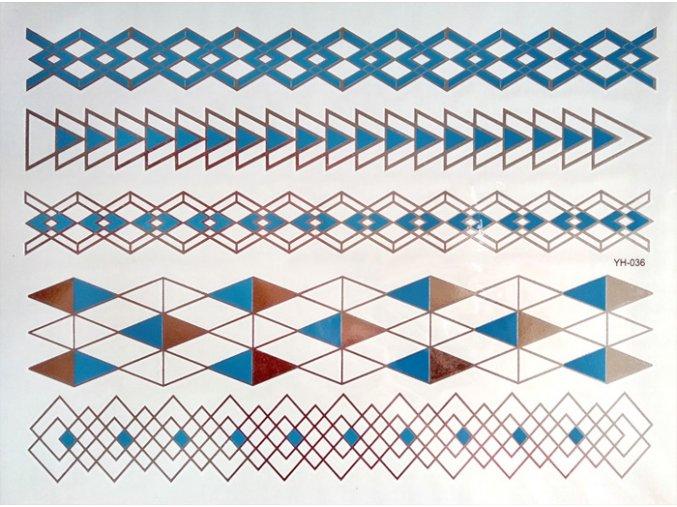 Metalické nalepovací tetování YH 036 Geometrické
