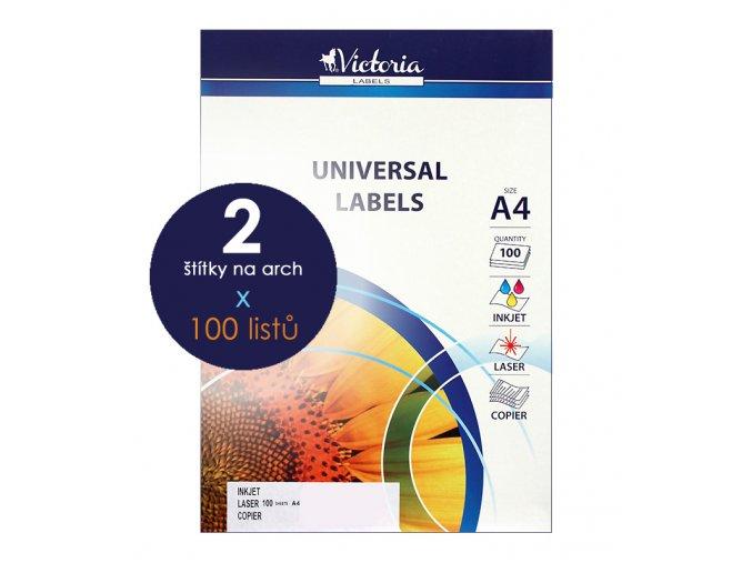 etikety A4 štítky do tiskárny Victoria x 2