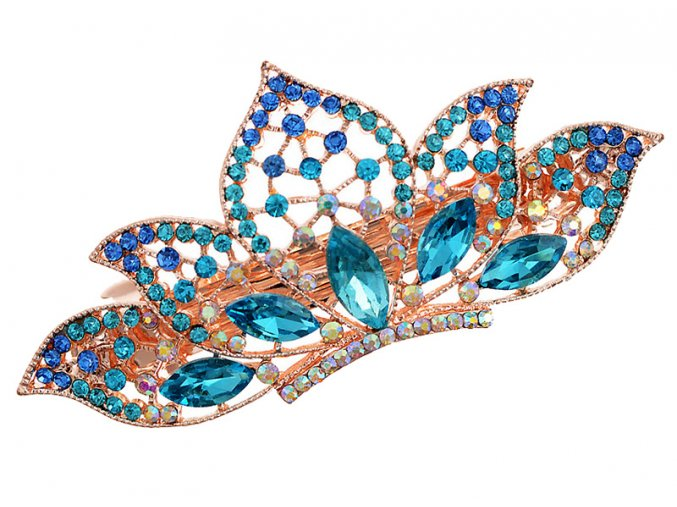 Ozdobná spona do vlasů s krystaly koruna modrá 01