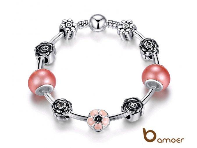Náramek BAMOER PA3073 19 cm růžový