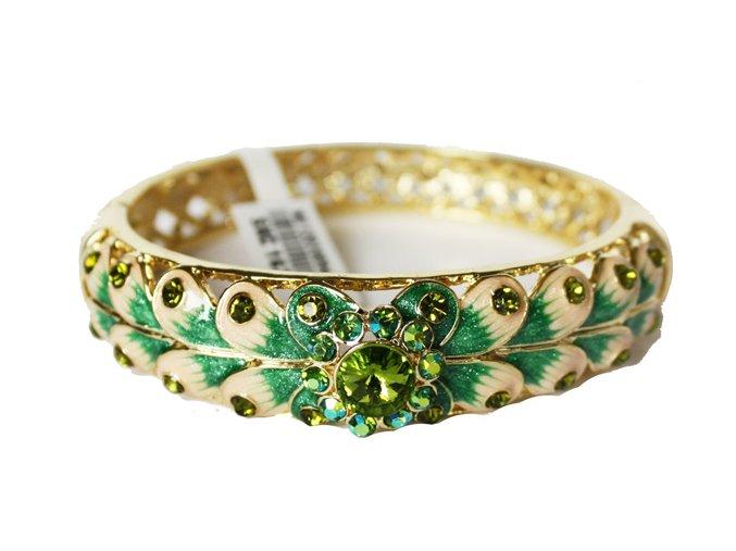 Kovtia luxusní náramek s lístky a krystaly zelený