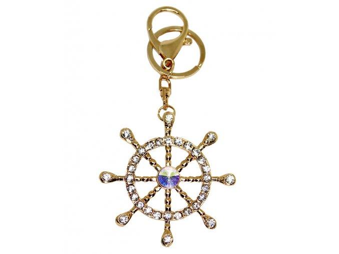 Přívěsek na klíče a kabeklu Kormidlo zlaté 01