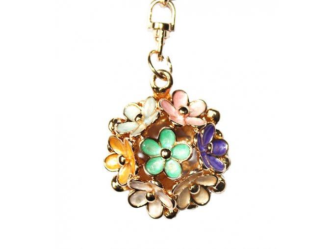 Přívěsek na kabelku a klíče kytička barevná 01