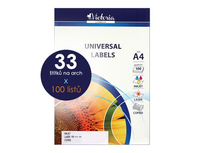 etikety A4 štítky do tiskárny Victoria x 33