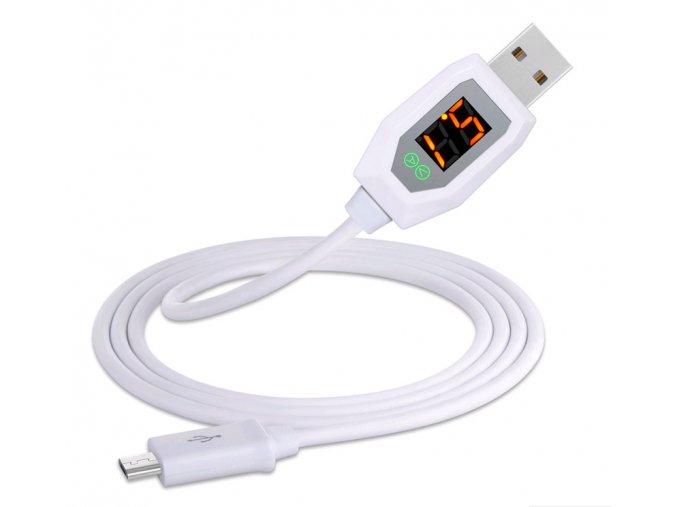 microUSB kabel & voltmetr bílý 01