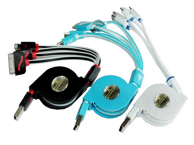 Samonavíjecí multifunkční USB kabel 4v1