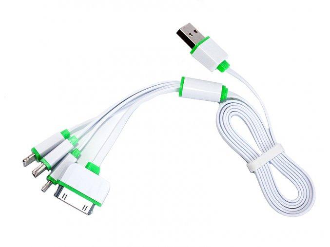 Multifunkční nabíjecí kabel 4v1 bílý 01