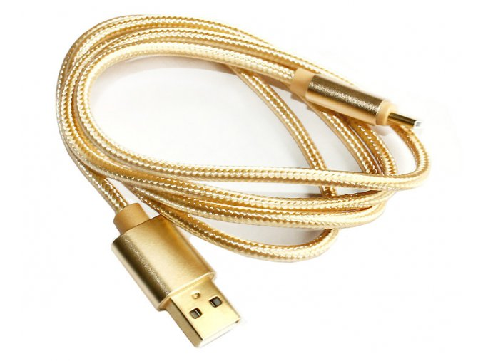 USB kabel nylon type C zlatý 02
