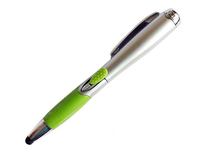 Multifunkční stylus propiska a LED světlo zelený 01