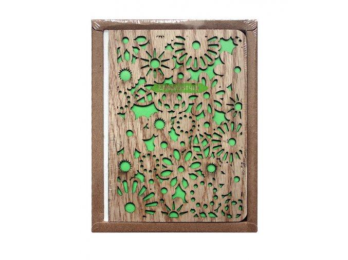 Poznámkový notes WOOD zelený 01