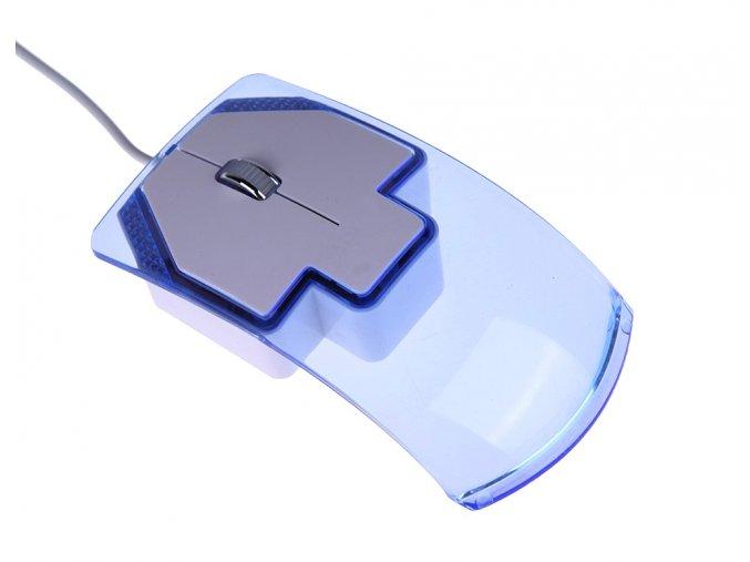 Transparentní počítačová myš s USB kabelem modrá 01