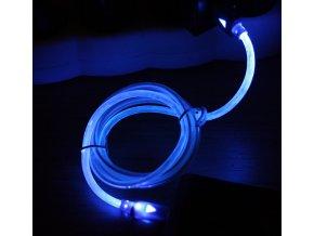 Svítící USB microUSB kabel modrý 02