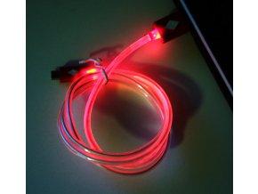 Svítící USB microUSB kabel červený 02