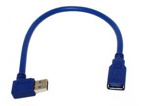 Krátký kabel úhlový USB male USB female 3 0 modrý 01
