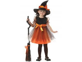 Kostým malé čarodějky černo oranžový