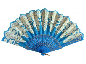 Dámský vějíř plast modrý s ornamenty 01