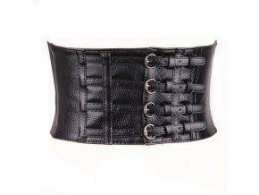 Široký černý pásek s přeskami 1
