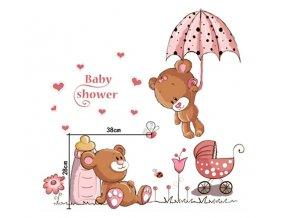 dekorační samolepka na zeď medvídci Baby Shower 00