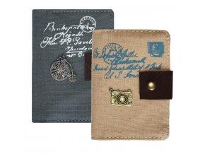 Plátěné pouzdro na karty šedé 02