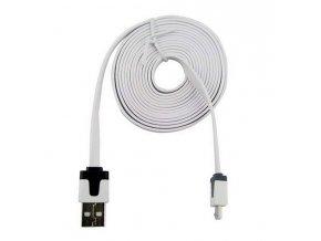 2m micro USB kabek plochý bílý 01
