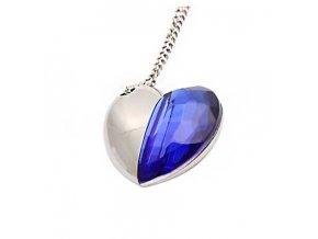 USB flash disk 8GB srdce s modrým krystalem