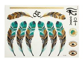 Metalické nalepovací tetování Peříčka YH 002