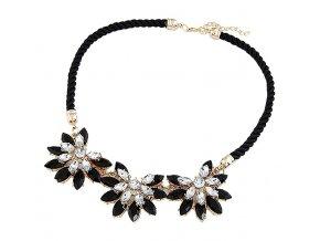 Statement náhrdelník černé krystaly 01