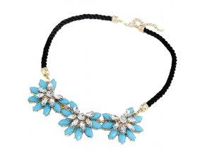 Statement náhrdelník modré krystaly 01